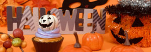 ハロウィンのジャックオランタンとかぼちゃやぶどう