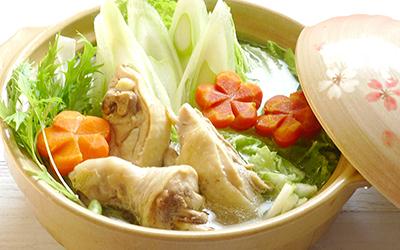 +白ねぎぽん酢で 鶏もも肉の水炊き