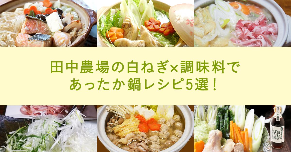 田中農場の白ねぎ×調味料であったか鍋レシピ5選!