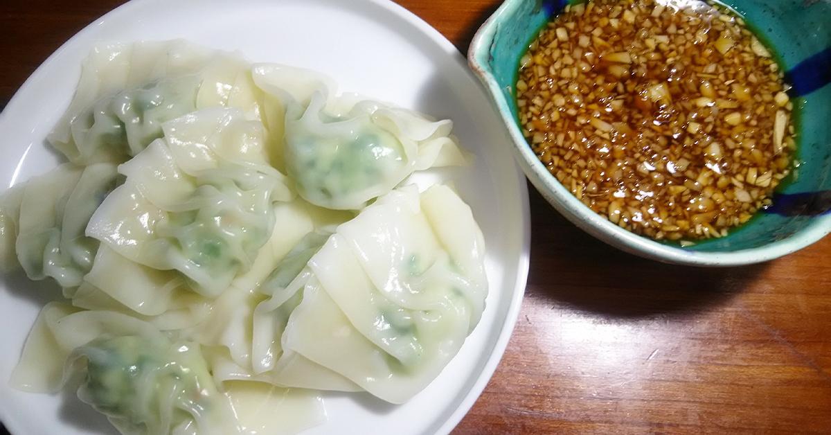 田中農場の特製白ねぎぽん酢で白ねぎ風味豊かなツルツル冷やし水餃子