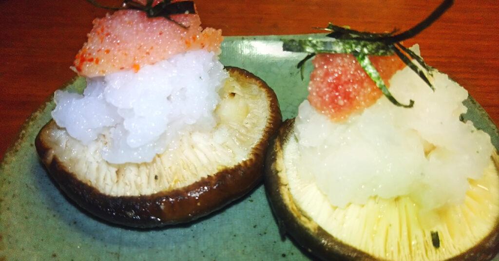 さっぱり美味しい!田中農場の特製白ねぎぽん酢を使った焼きしいたけのおろし明太子添え