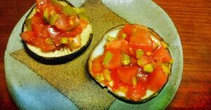 田中農場の特製白ねぎぽん酢を使ったオリーブ&トマトのカナッペ風焼きしいたけ