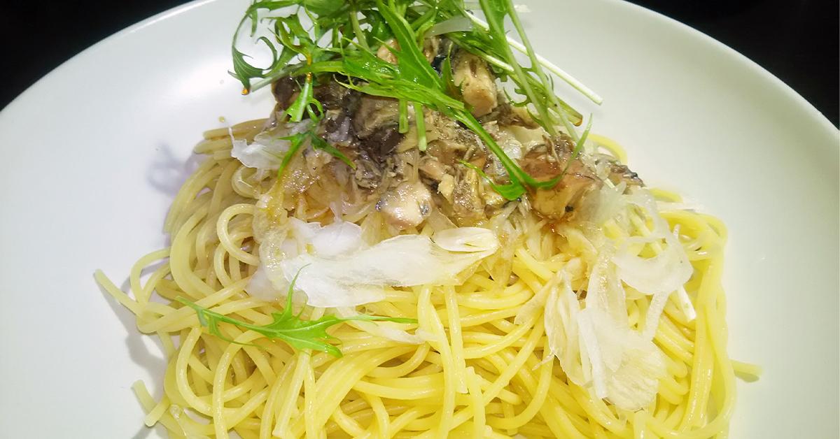 鳥取・田中農場の白ねぎぽん酢で バターぽん酢とサバ缶をつかったさっぱりまろやかパスタ