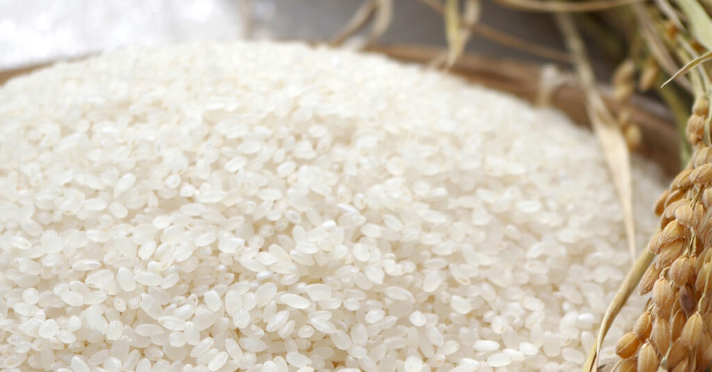 お米を干している画像