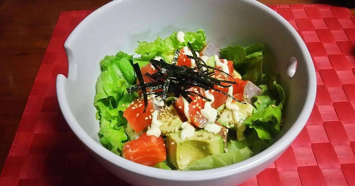田中農場のネギネージュを使ったサーモンアボカド丼の画像